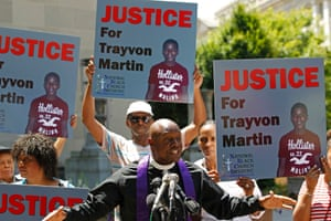Rev. Anthony Evans, president of the National Black Church Initiative, speaks to the media during a demonstration asking for justice for Trayvon Martin, outside the Department of Justice in Washington. President Barack Obama called for calm after the acquittal of George Zimmerman in the shooting death of unarmed black teenager Trayvon Martin, as thousands of civil rights demonstrators turned out at rallies to condemn racial profiling. Photograph: Jose Luis Magana/Reuters