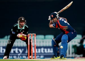 Owais Shah of Essex in action during the Friends Life T20 match between Surrey Lions and Essex Eagles at The Kia Oval in London, England.