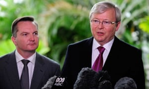 Kevin Rudd and Chris Bowen outline federal budget cuts to pay for the end of the fixed carbon price.