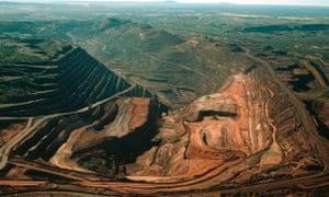The BHP Billiton Mt Whaleback iron ore mine in the Pilbara Region of Western Australia.