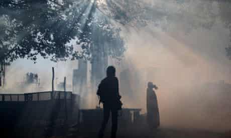 Anti-malaria fumigation in India