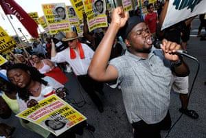 Trayvon protests: Baltimore: The Rev. Cortly Witherspoon leads a march during a demonstration