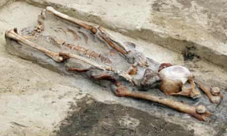 'Vampire grave': A skeleton with the head between the legs, discovered in Gliwice, Poland.