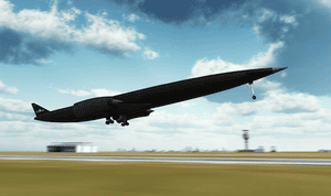 An artist's impression of the Skylon taking off from a runway.