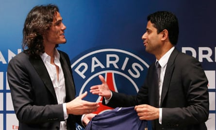 Paris Saint Germain's club president Nasser al-Khelaifi and Uruguay's soccer player Cavani