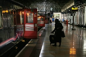 Night Riviera: A passenger gets ready to board the sleeper train
