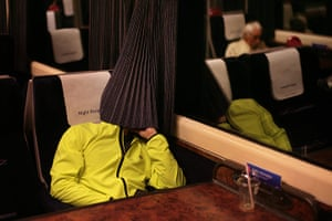 Night Riviera: A passenger beds down for the night in 'cattle class'