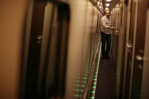 Night Riviera: A passenger gets ready to turn in for the night