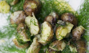 New potatoes, butter and fennel tops