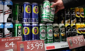 Cans of lager and cider at an off-licence