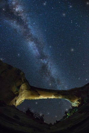 The Milky Way over Owachomo Bridge in Natural Bridges national monument.