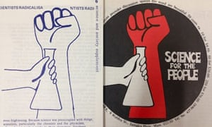 Anti-oppression salute next to chemical flask, as used in UK and US radical science magazines