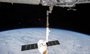 Elon Musk space capsule in space