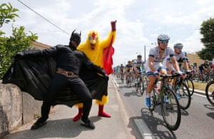 cycling fans: Fans dressed in costumes