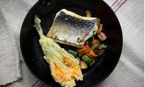 Sea bass with slow-roasted summer vegetables and fried courgette flower
