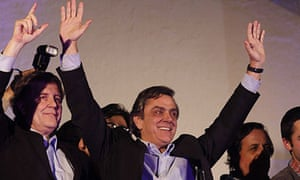 Pablo Longueira, centre, after winning the presidential nomination in June.