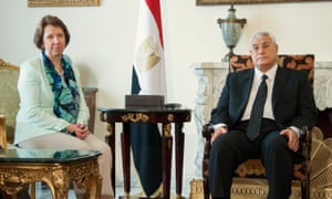EU foreign policy chief Catherine Ashton met interim Egyptian President Adly Mansour on her visit to Cairo.