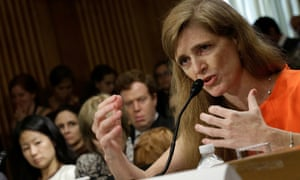 Samantha Power, the nominee to be the U.S. representative to the United Nations, testifies before the Senate Foreign Relations Committee.