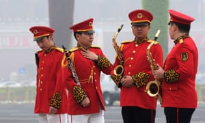 Members of a Chinese military band are in discussion before the arrival of the Vice President of Venezuela Jorge Arreaza Montserrat and Chinese Vice President Li Yuanchao at the Great Hall of the People in Beijing. Hopefully they've all agreed to be playing the same tune.