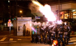 Police used tear gas to disperse demonstrators.