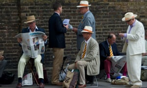 Where did you get that hat? Cricket enthusiasts queue outside the Lord's cricket ground to watch the first day of the second Test of the 2013 Ashes series between England and Australia in London.