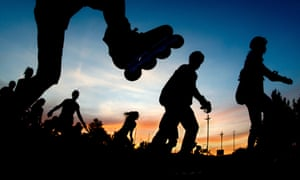Inline skaters are outlined against the evening sky in Hanover, Germany. Hundreds of people took part in a Skate Night event last night covering a 24 km route.