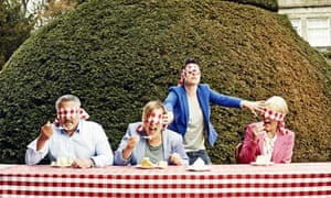 Paul Hollywood, Mel Giedroyc, Sue Perkins and Mary Berry at Harptree Court, Somerset