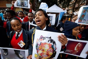 Mandela's birthday: Well-wishers sing outside the hospital in Pretoria