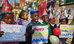 These little guys know how to party: they're all dressed up to sing Happy Birthday to Nelson Mandela outside the Mediclinic Heart Hospital where the former president is being treated in Pretoria.