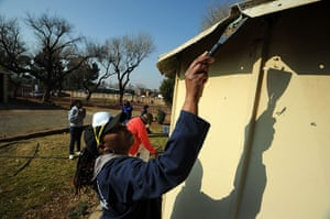 Mandela's birthday: Government office workers clean houses at a drug rehabilitation centre for