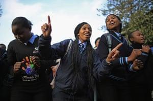 Mandela's birthday: Schoolchildren sing at Phefeni High School, opposite Mandela's former home