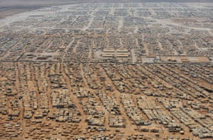 The Zaatari refugee camp near the Jordanian city of Mafraq, some 5 miles from the Jordan-Syria border. Visiting the camp, U.S. Secretary of State John Kerry met six representatives of its 115,000 population, all of whom appealed to him to create no-fly zones and set up humanitarian safe havens inside Syria.