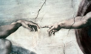 God and Adam's hands about to touch in a detail from the Creation of Adam by Michaelangelo