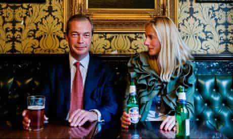 Ukip leader Nigel Farage and Marina Hyde in the pub
