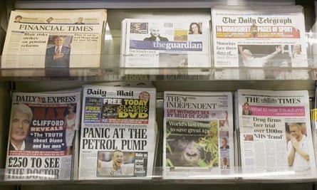 British newspapers at a newsagents