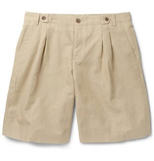 Shorts: Pleated cotton and linen-blend shorts