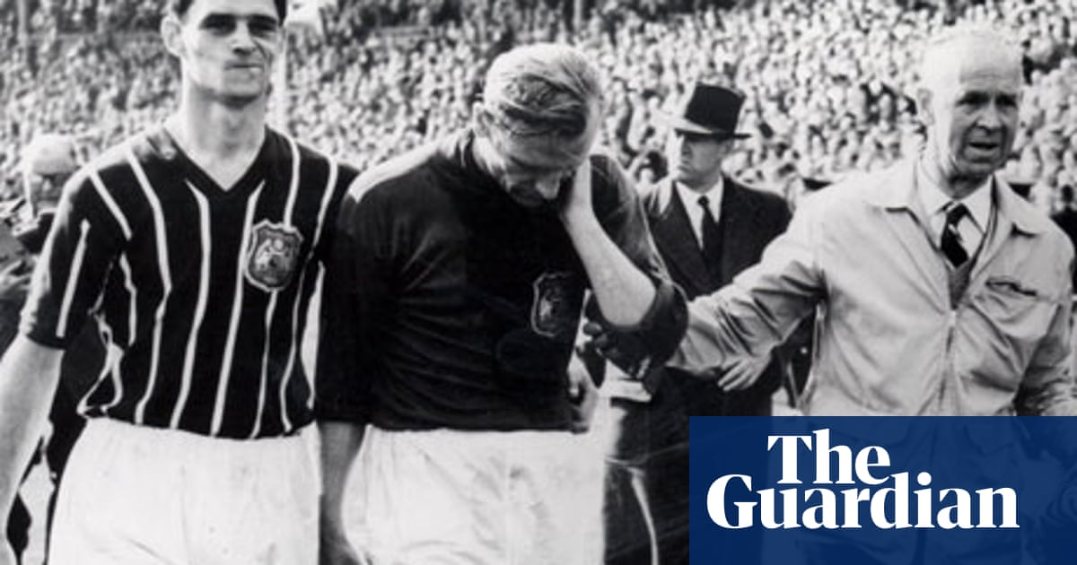 Archive,1956: Bert Trautmann FA Cup final pictures and match report | From  the Guardian | The Guardian