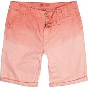 Budget shorts: Light pink dip dye chino shorts