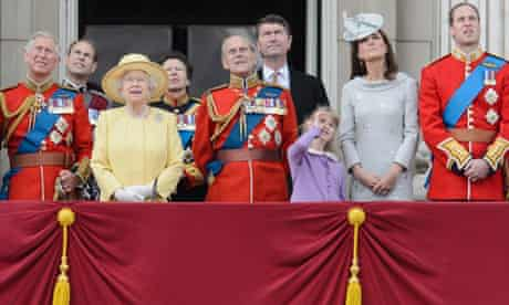 The Royal Family on the balcony after the Queen's birthday parade last summer.