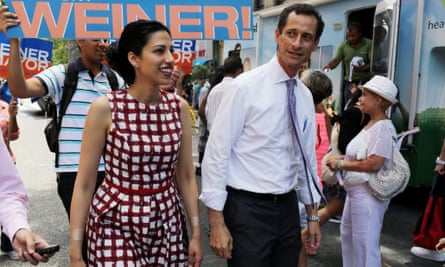 Anthony Weiner campaigns with his wife Homa in Harlem.