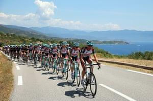Tour de France stage 3: Jens Voigt of Radioshack Leopard leads the peloton along the Corsican coast