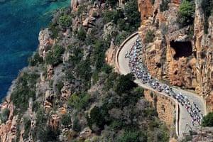 Tour de France stage 3: An aerial shot of the peloton