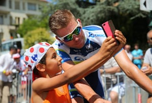 Tour de France stage 3: Brett Daniel Lancaster of Orica Greenedge has his picture taken by a fan