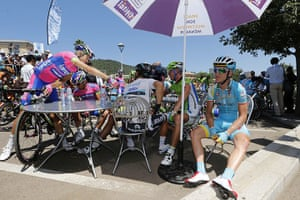 Tour de France stage 3: Riders drinks on a terrace in Ajaccio