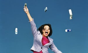 woman jumping with phones