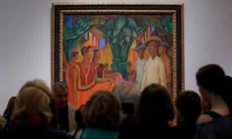 A painting by late Mexican artist Diego Rivera entitled 'Dance in Tehuantepec' during a press preview of the Mexican Revolution in Art exhibition at the Royal Academy of Art in London.  The exhibition will run from July 6 - September 29.