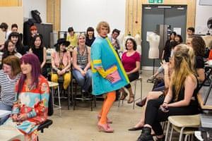 Grayson Perry models a dress by Stefan Cooke
