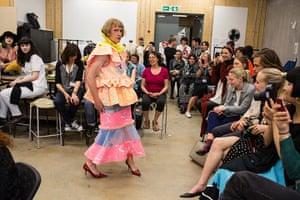 Grayson Perry models a dress by Jane Tan