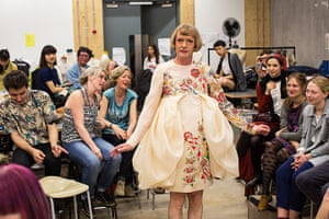 Grayson Perry models a dress by Line Bech