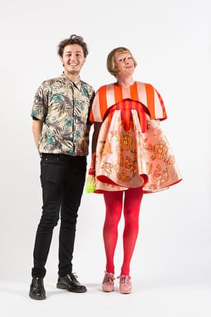 Menswear fashion student Alessandro Francalacci with Grayson Perry